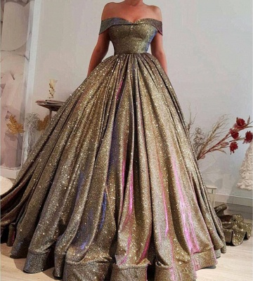 Luxury Ball Gown Prom Dresses | Off The Shoulder Sequins Evening Dresses_3
