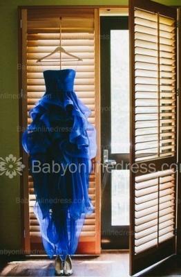 Royal Blue Hi-lo Ruffles Wedding Dresses Strapless Neck Bridal Gowns_4