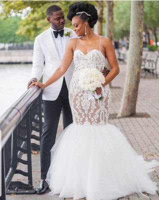 Glamorous Lace Mermaid Wedding Dresses   Spaghetti Straps Long Tulle Bridal Gowns_3