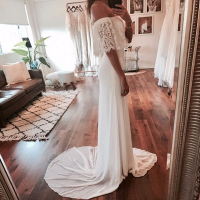Chic Off-The-Shoulder Beach Wedding Dresses | Simple Lace Chiffon A-Line Bridal Gowns_4