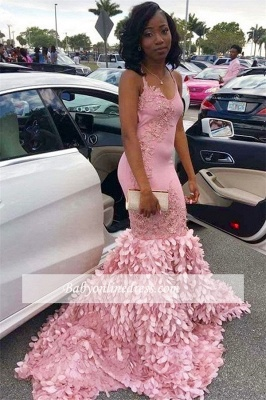Elegant Spaghetti Straps Sleeveless Pink Prom Dresses | Mermaid Appliques 2021 Evening Gowns_1