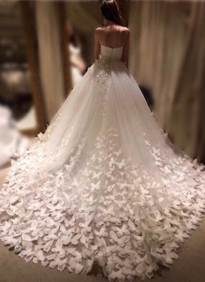 Romantic Butterfly Appliques A-line Wedding Dresses | Sweetheart Neckline Bridal Gowns_1