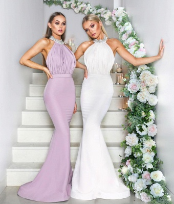 Sexy Halter Neck Beaded Bridesmaid Dresses | Open Back Long Maid of the Honor Dresses_2