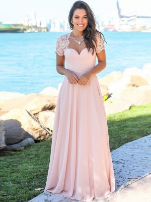 Pink Chiffon A-Line Bridesmaid Dresses | Sweetheart Cap Sleeves Lace Long Prom Dresses_1