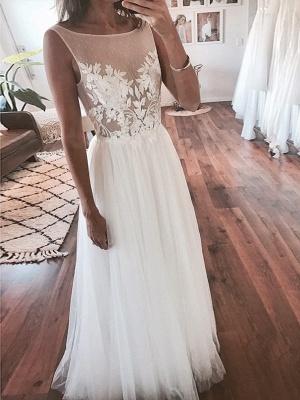 Elegant A-Line Tulle Wedding Dresses | Scoop Sleeveless Lace Appliques Long Bridal Dresses_1