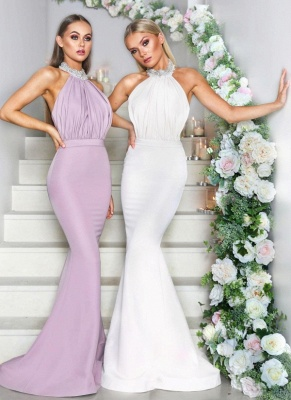 Sexy Halter Neck Beaded Bridesmaid Dresses | Open Back Long Maid of the Honor Dresses_1