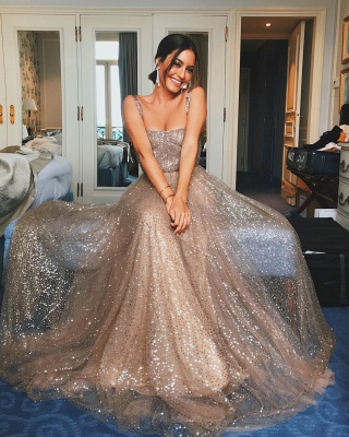 Shiny Sequin Straps Prom Dresses | Champagne Sleeveless A-Line Party Dresses_2
