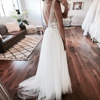 Elegant A-Line Tulle Wedding Dresses | Scoop Sleeveless Lace Appliques Long Bridal Dresses_3