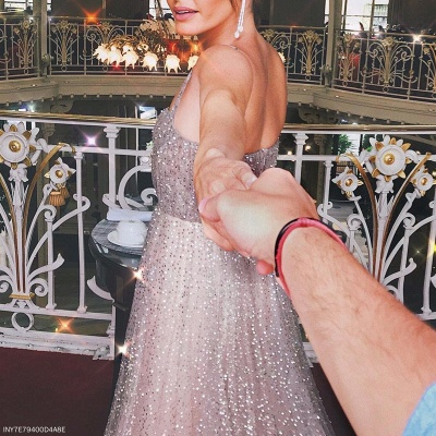 Shiny Sequin Straps Prom Dresses | Champagne Sleeveless A-Line Party Dresses_4