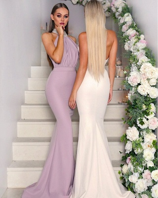 Sexy Halter Neck Beaded Bridesmaid Dresses | Open Back Long Maid of the Honor Dresses_3