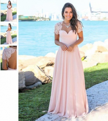 Pink Chiffon A-Line Bridesmaid Dresses | Sweetheart Cap Sleeves Lace Long Prom Dresses_6