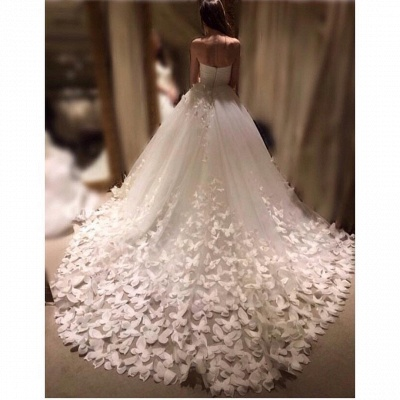 Romantic Butterfly Appliques A-line Wedding Dresses | Sweetheart Neckline Bridal Gowns_2