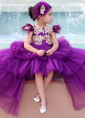 Cute Purple Tiers Tulle Flower Girl's Dress | Hi-Lo Girl's Pageant Dresses_1