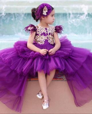 Cute Purple Tiers Tulle Flower Girl's Dress | Hi-Lo Girl's Pageant Dresses_2