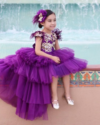 Cute Purple Tiers Tulle Flower Girl's Dress | Hi-Lo Girl's Pageant Dresses_3