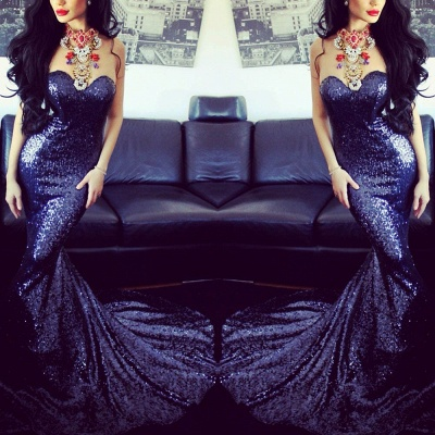Sexy Sequined Mermaid Prom Dresses 2021 Sweetheart Sweep Train Sleeveless Evening Gowns_3