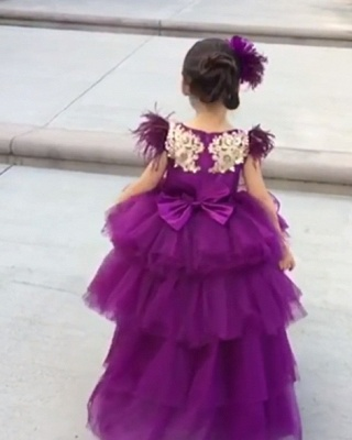 Cute Purple Tiers Tulle Flower Girl's Dress | Hi-Lo Girl's Pageant Dresses_4