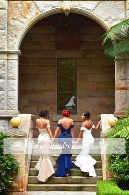 Newest Mermaid Ruffles Off-the-shoulder Long Lace-up Bridesmaid Dress BA2739_1