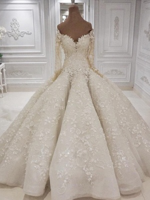Elegant Off The Shoulder Ball Gown Wedding Dresses | Long Sleeves Lace Appliques Sequined Bridal Gowns_1