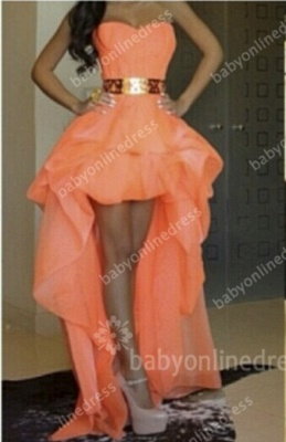 Sexy Hi-lo Orange Prom Dresses Sweetheart Gold Belt Asymmetrical A-line Homecoming Dresses_1