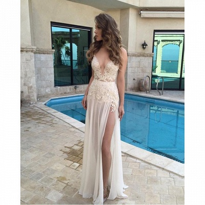 2021 Sexy Deep V-Neck Sheer Long Side Split Lace Appliques Prom Dresses BA3781_3