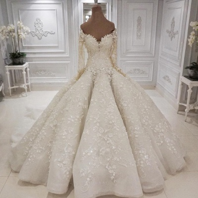 Elegant Off The Shoulder Ball Gown Wedding Dresses | Long Sleeves Lace Appliques Sequined Bridal Gowns_2