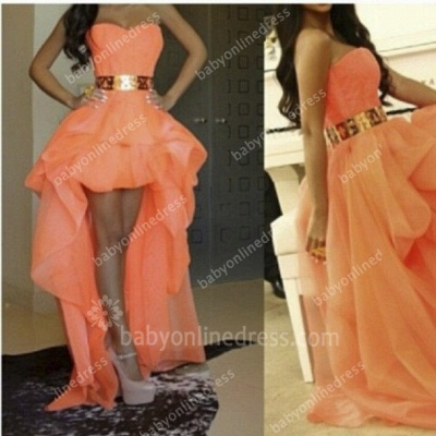 Sexy Hi-lo Orange Prom Dresses Sweetheart Gold Belt Asymmetrical A-line Homecoming Dresses_2