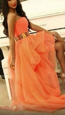 Sexy Hi-lo Orange Prom Dresses Sweetheart Gold Belt Asymmetrical A-line Homecoming Dresses_4