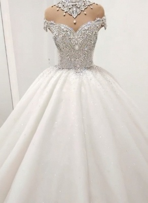 Luxury Crystals Ball Gown Wedding Dresses   Shiny High Neck Bridal Gowns BC1116_1