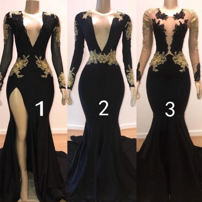 Sexy Black Mermaid Prom Dresses | Deep V-Neck Gold Appliques Evening Gowns_2