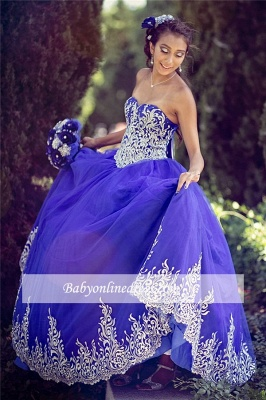 Appliques Sweetheart Strapless Ball-Gown Amazing Sleeveless XV Dresses_1