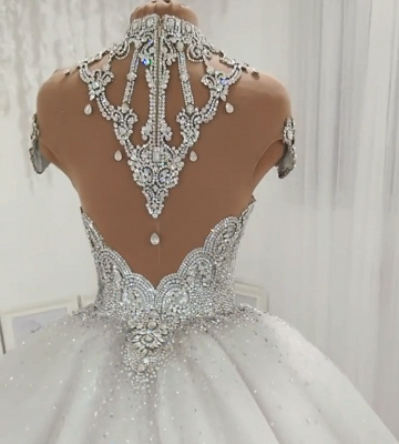 Luxury Crystals Ball Gown Wedding Dresses   Shiny High Neck Bridal Gowns BC1116_4