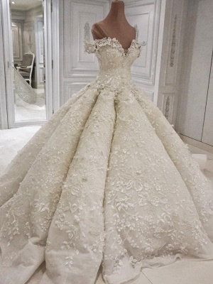 Glamorous Floral Ball Gown Wedding Dresses   Off The Shoulder Lace Bridal Dresses_1