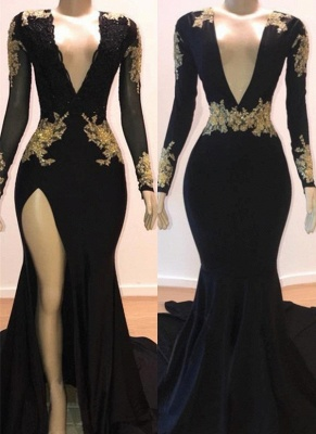 Sexy Black Mermaid Prom Dresses | Deep V-Neck Gold Appliques Evening Gowns_1