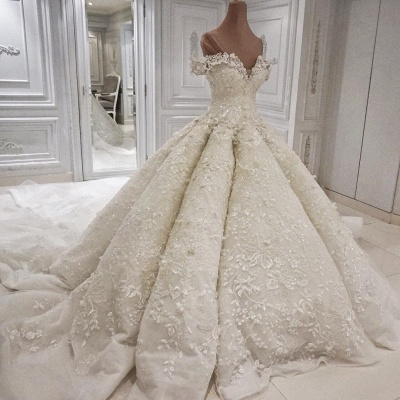 Glamorous Floral Ball Gown Wedding Dresses   Off The Shoulder Lace Bridal Dresses_2