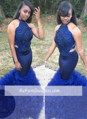 Gorgeous Sleeveless Lace Halter Prom Dresses | Ruffles Royal-Blue Beadings Evening Gowns_2
