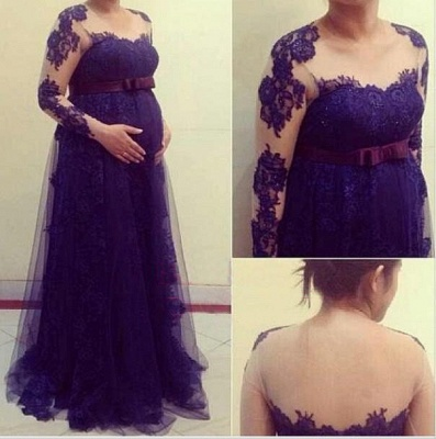 Purple Pregnant Women Party Dresses Long Sleeves Maternity Formal Evening Gowns_2