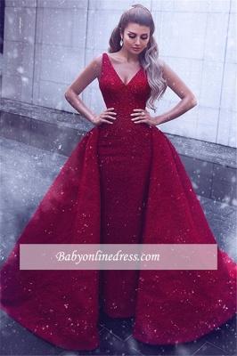 Gorgeous Sleeveless V-Neck Prom Dresses   Mermaid Overskirt Red Evening Gowns_2