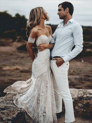Unique Off The Shoulder Lace Summer Beach Mermaid Wedding Dress_1