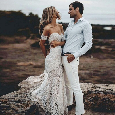 Unique Off The Shoulder Lace Summer Beach Mermaid Wedding Dress_3