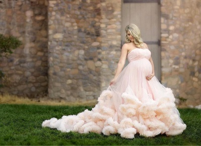 Long Pink Strapless Cloud Pregnant Maternity Wedding Dresses_3