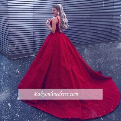Gorgeous Sleeveless V-Neck Prom Dresses   Mermaid Overskirt Red Evening Gowns_1