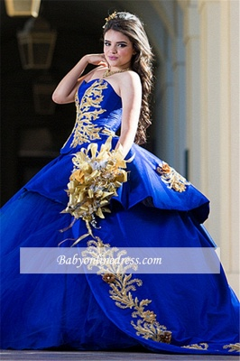 Ball-Gown Appliques Sweetheart Strapless Royal-Blue Excellent Quince Dresses_2