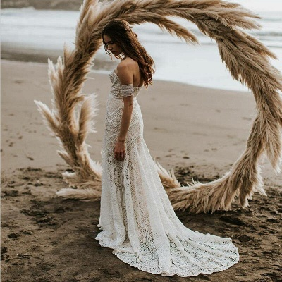 Unique Off The Shoulder Lace Summer Beach Mermaid Wedding Dress_4