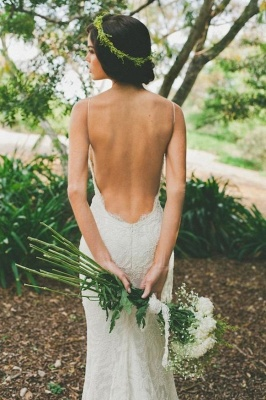Sexy Lace Mermaid Wedding Dresses | Spaghetti Straps Summer Beach Bridal Dresses Backless_4