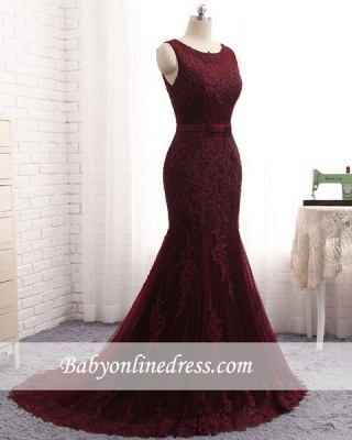 Elegant Scoop Sleeveless Lace Appliques Prom Dresses | Mermaid Bows-Sashes Burgundy Evening Gowns_3