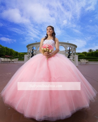 Strapless Appliques Ball-Gown Glorious Beaded Quinceanera Dresses_1