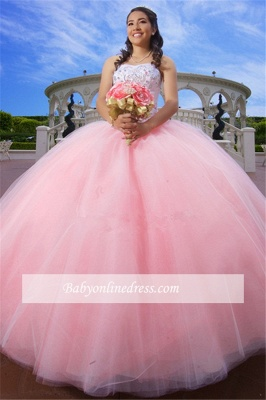 Strapless Appliques Ball-Gown Glorious Beaded Quinceanera Dresses_2