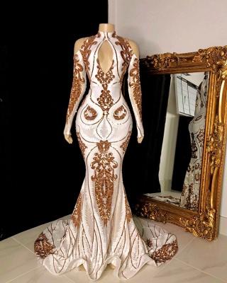 Luxury Long Sleeve Keyhole Neckline Mermaid Long Prom Dresses_2