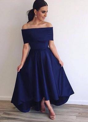 2021 Off the Shoulder Bridesmaid Dresses Hi-Lo Blue Simple Prom Dresses_3